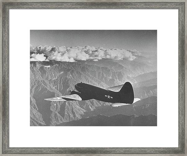 American C-46 Transport Flying The Hump Framed Print by William Vandivert