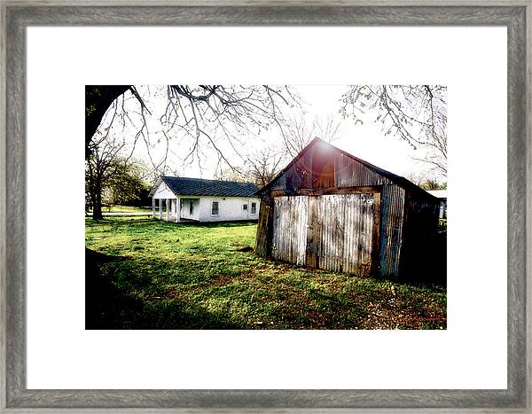 American Fabric   Mickey Mantle's Childhood Home Framed Print