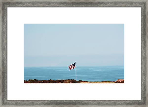 American Flag Along The Coast Of Framed Print