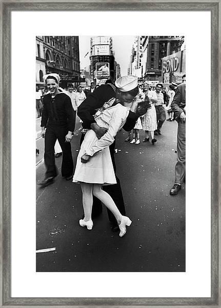 American Sailor Kisses White-uniformed Framed Print