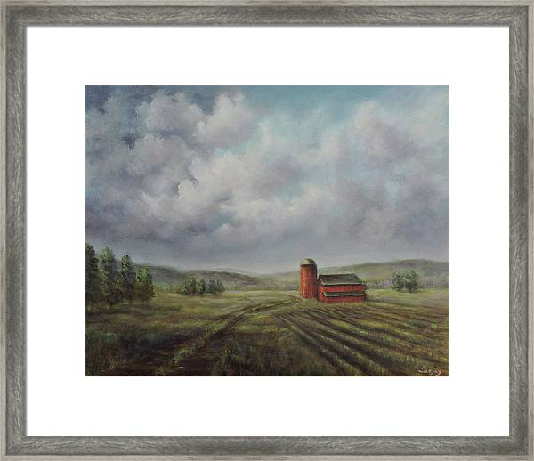 American Scene Red Barn  Framed Print