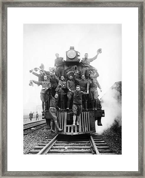 American Soldiers Riding On The Front Framed Print by Bettmann