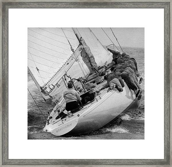 Americas Cup Contender Weatherly Racing Framed Print