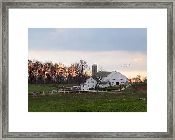 Amish Farm At Dusk  Framed Print