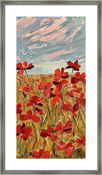 Among The Poppies.   2 Of 2 Framed Print