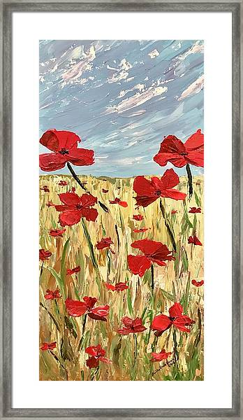 Among The Poppies     1 Of 2 Framed Print