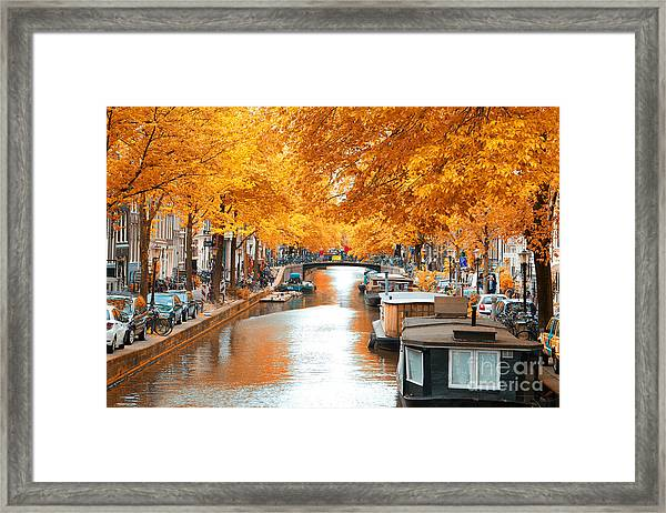 Amsterdam Autumn. Beautiful Places In Framed Print