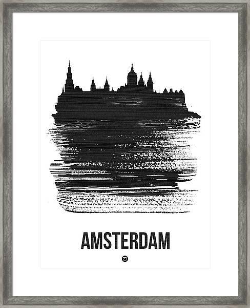 Amsterdam Skyline Brush Stroke Black Framed Print