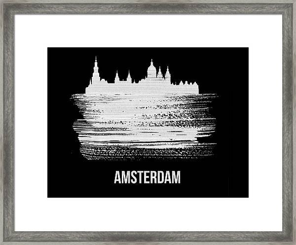 Amsterdam Skyline Brush Stroke White Framed Print