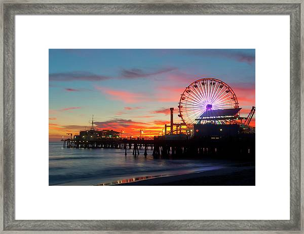 Amusement Park On Waterfront At Night Framed Print