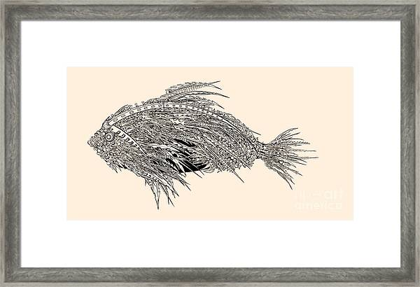 Anatomy Of A Fish. Robot Spiked Fish Framed Print