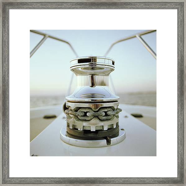 Anchor Winch On Bow Of Yacht Framed Print