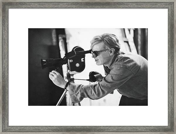 Andy Warhol Lines Up A Shot Framed Print by Fred W. McDarrah