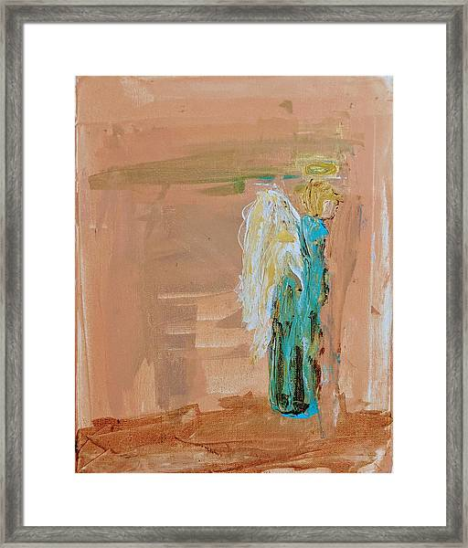 Angel Boy In Time Out  Framed Print
