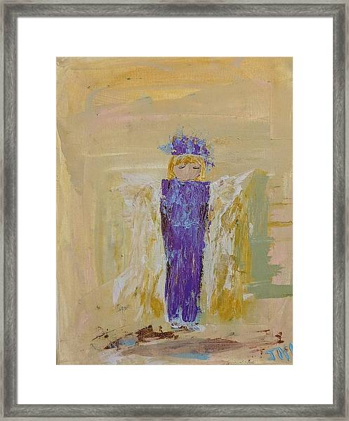 Angel Girl With A Unicorn Framed Print