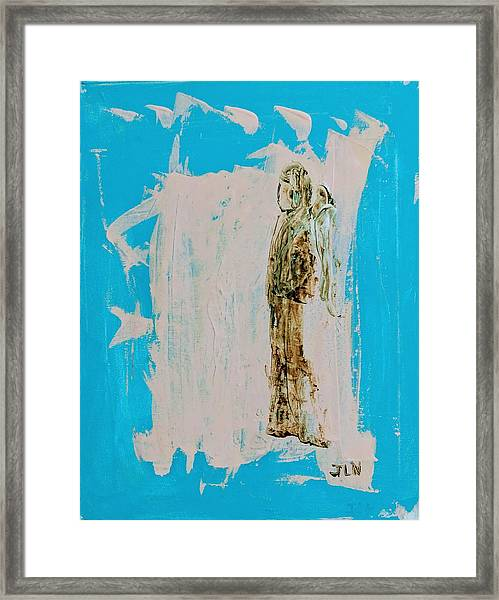 Angel With His Dog Wings Framed Print