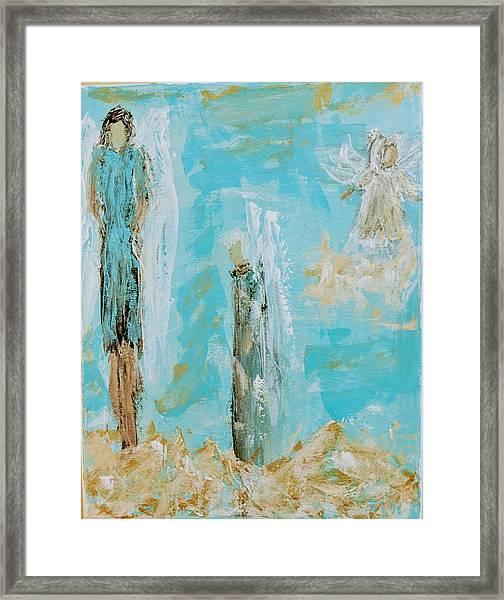 Angels Appear On Golden Clouds Framed Print