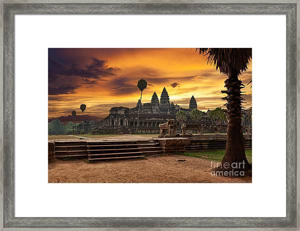 Angkor Wat At Sunset Framed Print