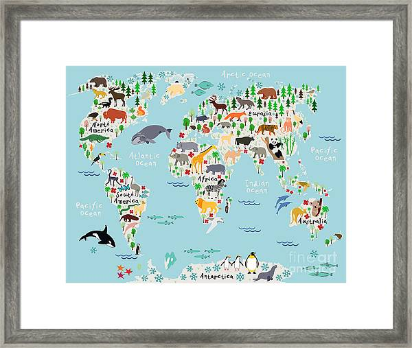 Animal Map Of The World For Children Framed Print