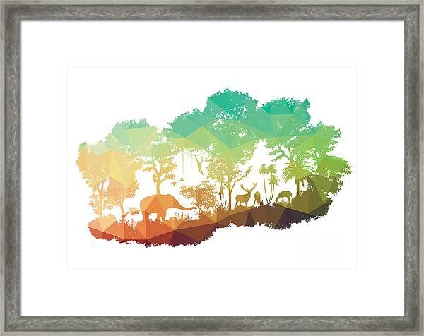 Animal Of Wildlife Including Elephant Framed Print