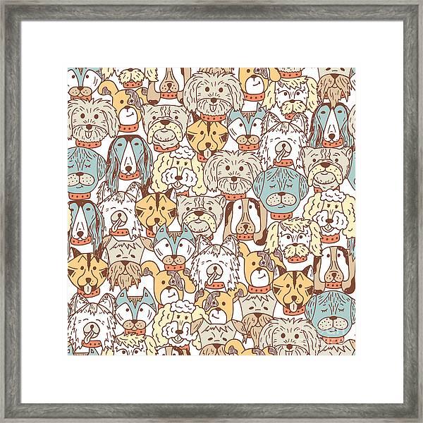 Animals. Dogs Vector Seamless Pattern Framed Print by Allnikart