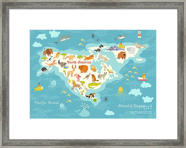 Animals World Map, North Framed Print