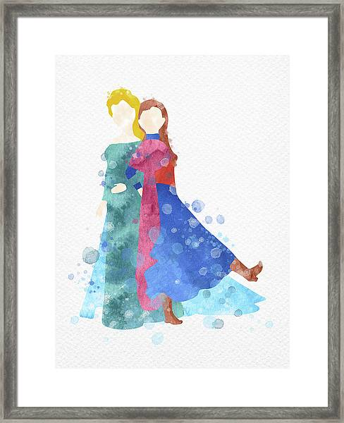 Anna And Elsa Watercolor Framed Print