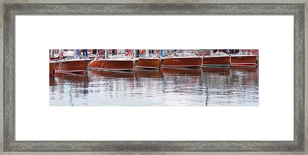 Antique Classic Wooden Boats In A Row Panorama 81112p Framed Print