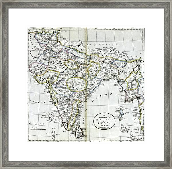 Antique Map Of India   Framed Print