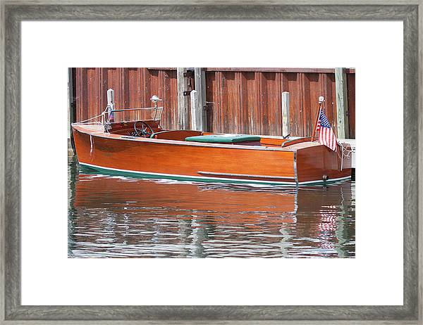 Antique Wooden Boat By Dock 1302 Framed Print