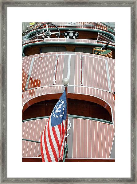 Antique Wooden Boat With Flag 1303 Framed Print