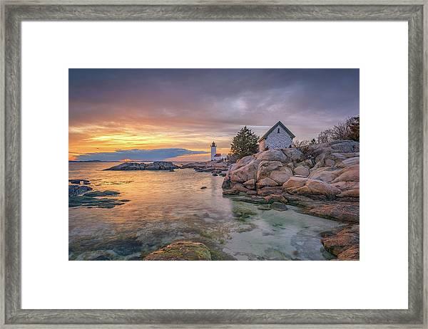 April Sunset At Annisquam Harbor Lighthouse Framed Print