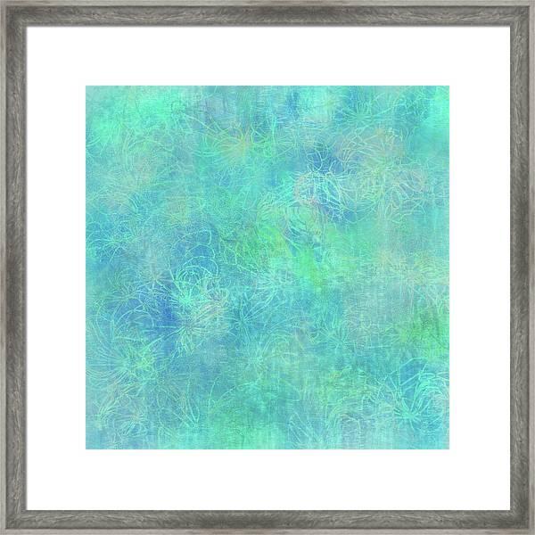 Aqua Batik Print Coordinate Framed Print