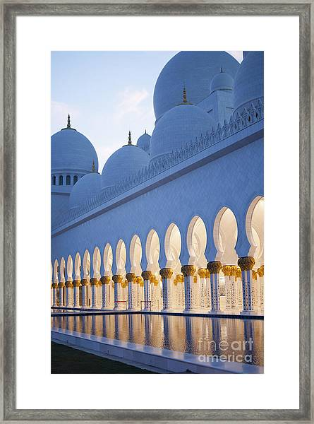 Arches Of Grand Mosque Of Abu Dhabi Framed Print