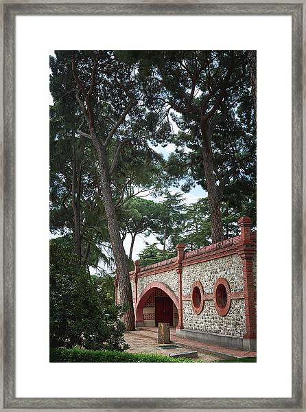 Architecture At The Gardens Of Cecilio Rodriguez In Retiro Park - Madrid, Spain Framed Print