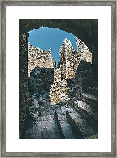 Framed Print featuring the photograph Architecture Of Old Vathia Settlement by Milan Ljubisavljevic