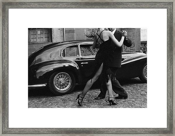 Argentina, Couple Dancing Tango By Car Framed Print by Christopher Pillitz
