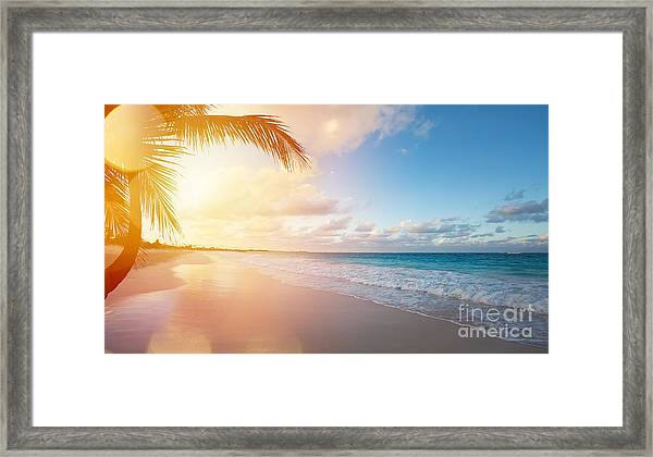 Art Beautiful Sunrise Over The Tropical Framed Print