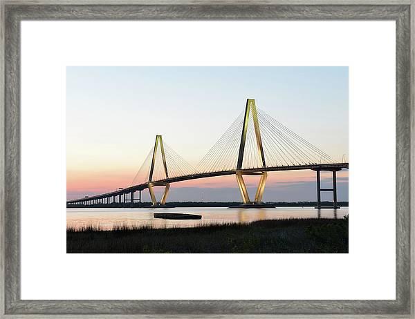 Arthur Ravenel Jr Bridge At Sunset Framed Print