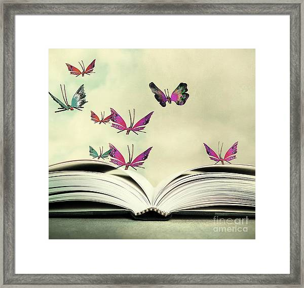 Artistic Image Of An Open Book And Framed Print