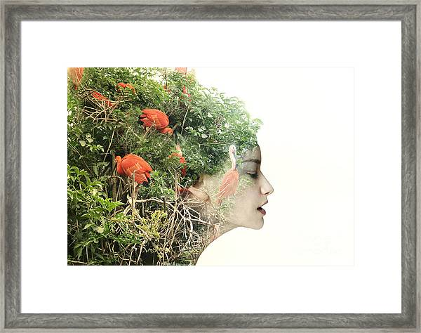 Artistic Surreal Female Profile In A Framed Print