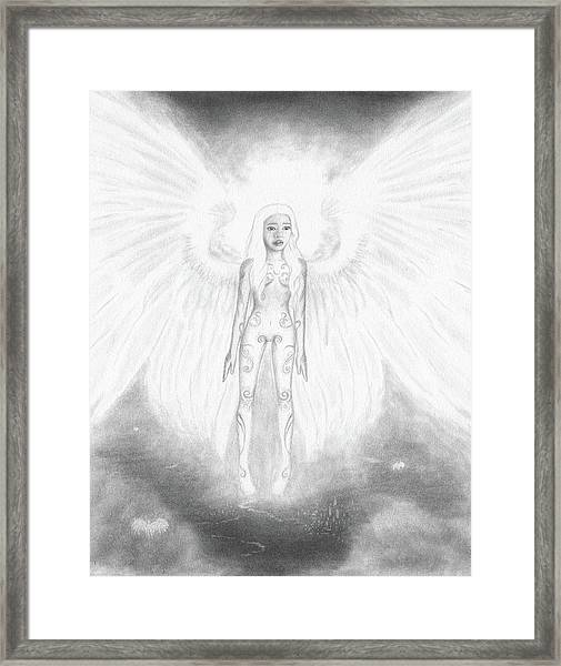 As An Angel She Realized Why - Artwork Framed Print
