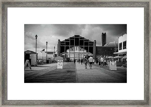 Framed Print featuring the photograph Asbury Park Boardwalk by Steve Stanger