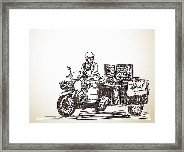 Asian Street Food On Motorbike, Hand Framed Print