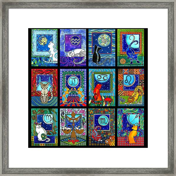 Astrology Cat Zodiacs Framed Print