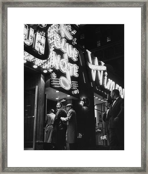 At The Blue Note Cafe Framed Print
