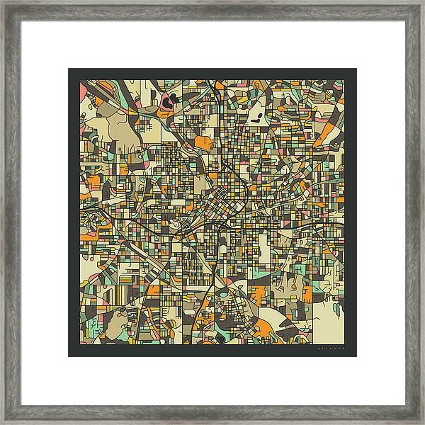 Atlanta Map 2 Framed Print