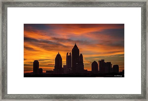 Atlanta Midtown Sunrise Silhouette Atlanta Georgia Cityscape Art Framed Print