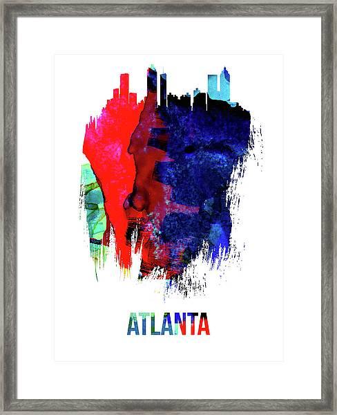 Atlanta Skyline Brush Stroke Watercolor   Framed Print