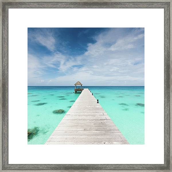 Atoll Jetty Wooden Pier Fakarava French Framed Print